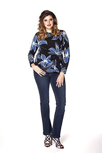 Yoek Damen Übergrößen Langarmshirt mit Druck Blumen Mehrfarbig
