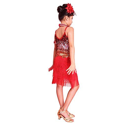Salsa Kostüme Kinder (Brightup Sequined Latein SalsaTassel Tanzkleid Kinder Partei Dancewear)