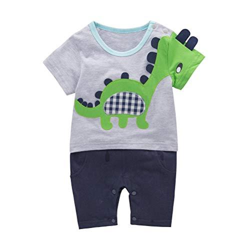 LENGIMA Baby Kleinkind Jungen Kurzarm Dinosaurier Kostüm Strampler (Color : Gray, Size : 6-12 Months) (Kleinkind Jungen Dinosaurier Kostüm)