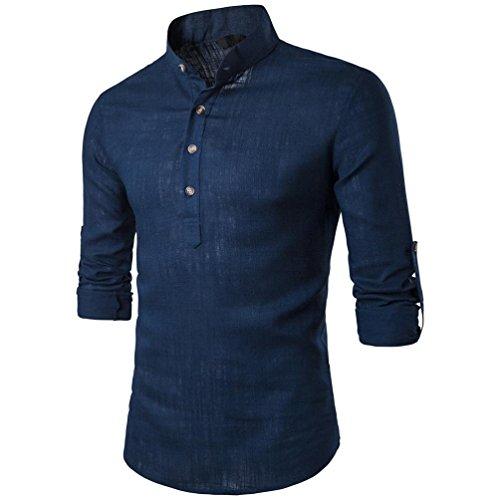 Langarm Männer Herren T-Shirts Stehen Hals Leinen Tops Bluse,Marine,M