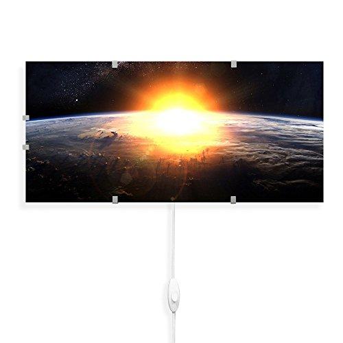 banjado - Wandleuchte 56cmx26cm Wandlampe Design Lampe LED Leuchte mit Schalter und Motiv Sonne im Weltall, Wandlampe mit 2x 6W LED Leuchtmittel