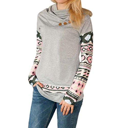 Koly_Le donne di stampa a maniche lunghe girocollo in cotone camicetta camicia delle parti superiori (S)