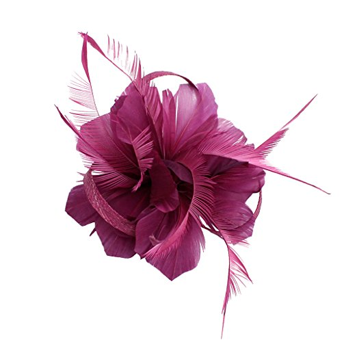 Phenovo Vintage Woman Feather Fascinator Hair Clip for 20s Great Gatsby Charleston Party Tea Party - purplish red