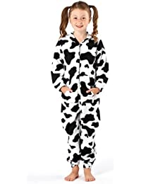 Girls Cow Spot and Leopard Head Soft Warm Fleece Onesies Pyjama JumpSuit Lounge Wear 1726