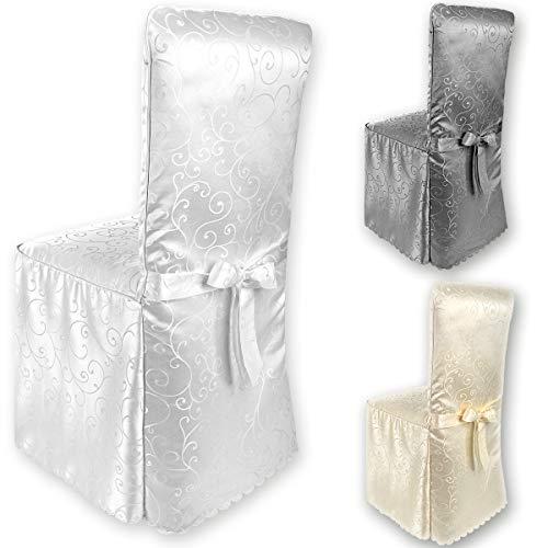 Rivestimento della sedia gräfenstayn® sofia con motivo jacquard e archetto integrato - diversi colori per schienali rotondi e quadrati vestibilità universale con oeko-tex standard 100 (bianco)