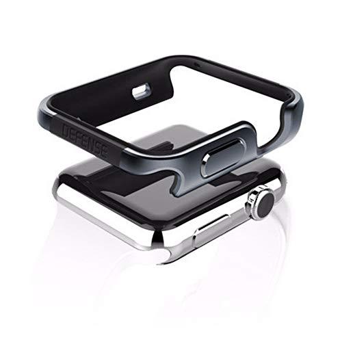qichenlu [Defense Edge Space Grau&Schwarz Apple Watch 44mm CNC Eloxiertes Aluminium Rahmen Case,Apple Watch Hülle Uhr Gehäuse Schutz Cover Stoßfest Metall Bumper kompatibel mit iWatch 44mm -