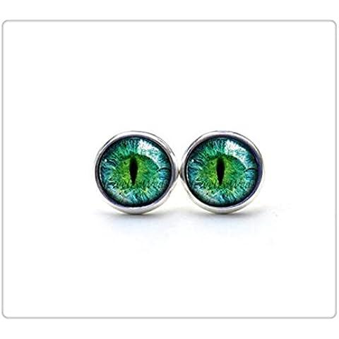 Ojo de Pendientes de ojo de gato–azul–auriculares studs plata imagen pendientes studs regalos para las