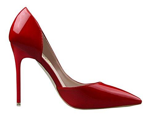Wealsex Escarpins Vernis Talon Aiguille Bout Pointu PU Cuir Mode Simple Classique OL Femme Rouge