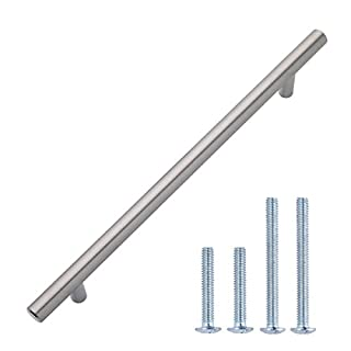 AmazonBasics - Europäischer Steggriff, Möbelgriff (1,27 cm Durchmesser), Länge: 25,4 cm (Lochmitte zu Lochmitte: 19,05 cm), Satinierter Nickel, 10er-Pack