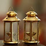 Angelic Copper Brass Diyas And Laterns (8 Cm X 8 Cm X 14 Cm, Golden, Set Of 2)