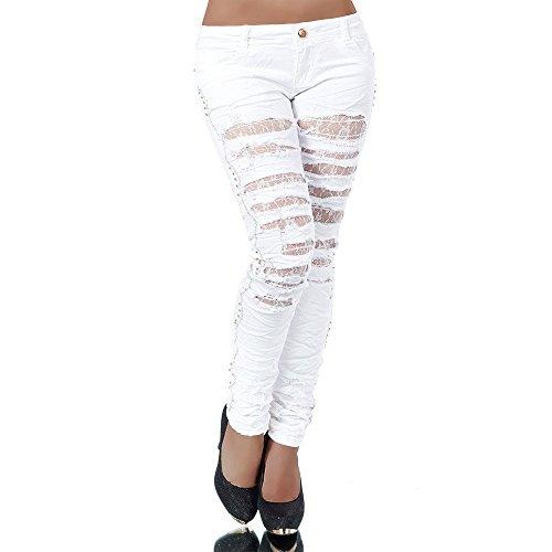 H592 Damen Jeans Hose Hüfthose Damenjeans Hüftjeans Röhrenjeans Röhrenhose Weiß