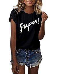 Yeamile Camiseta de Mujer Tops Negro Blusa Causal Ocasionales Camiseta Sueltas Camiseta
