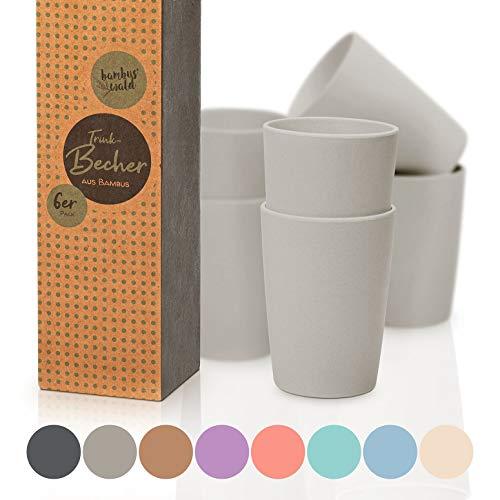 6er Set Trinkbecher | Becher ca. 240ml | Getränkebecher aus Bambus - spülmaschinenfest, robust & bruchsicher | Tasse | Geschirr für Kalt- & Heißgetränke (z.B. Tee | Kaffee) Bambusbecher