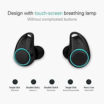 Holyhigh Écouteur Bluetooth Oreillette Mini Stereo Écouteur sans Fil Boîte de Recharge et Micro pour iPhone 6 7 8 X Samsung Sony iPad Tablettes par Holyhigh