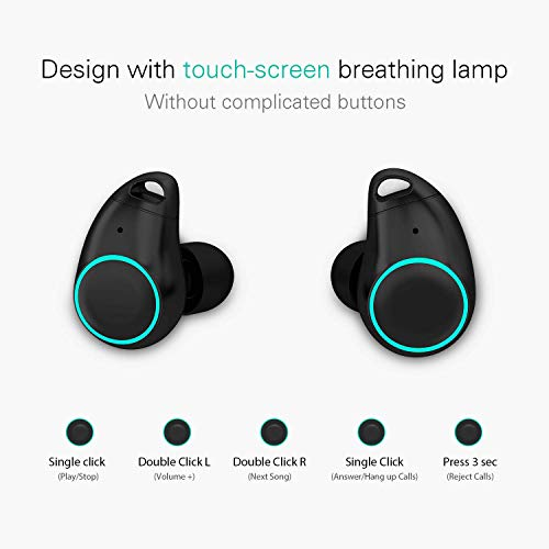 Holyhigh Bluetooth Kopfhörer Bluetooth Headset V5.0 Stereo-Minikopfhörer Sport IPX6 Wasserdicht Kopfhörer in Ear mit Ladekästchen und Integriertem Mikrofon für iPhone Android Samsung iPad Huawei HTC - 2