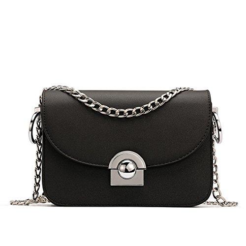 Frauen Leder Mode Handtasche Quilten Umschlag Cross Body Schultertasche,Black-OneSize (Gel Schaffell Schwarz)