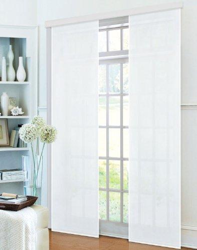 Preisvergleich Produktbild Flächenvorhang, Schiebegardine Blickdicht matt, 2 Stück 245x60, Weiß, aus Micro Satin (Mikrofaser Gewebe), mit Paneelwagen und Beschwerungsstange -085600-, 085600