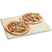 BURNHARD Pierre à Pizza pour Four et Barbecue, Cordierit, rectangulaire, adapté au Pain, à la Tarte flambée et à la Pizza - 45 x 35 x 1.5 cm