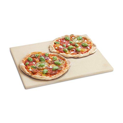 Burnhard Universal Pizzastein für Backofen Gas-Grill und Holzkohlegrill geeignet aus Cordierit | rechteckig | für Brot, Flammkuchen & Pizza | Grillstein | Brotbackstein | 45 x 35 x 1.5 cm