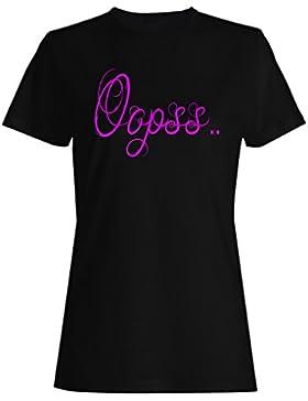 Rosa Grande OOPSS gracioso Novedad Nuevo camiseta de las mujeres s49f