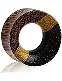 1 X Schwarz Büffelhorn Flammen Haken Ohr Spirale Größenauswahl 4g-1.3cm 5-12mm