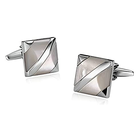 Epinki French Tuxedo Shirt Cufflinks for Men Stainless Steel Square Stripe Opal Pierced Silver White