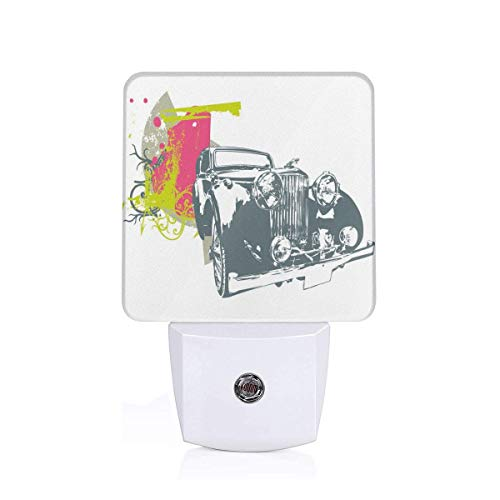 Pop Art Retro Custom Classic Car With Grunge Effects Illustration Plug-in LED Night Light Lamp with Dusk to Dawn Sensor, Night Home Decor Bed Lamp (Pop-art-bikini)