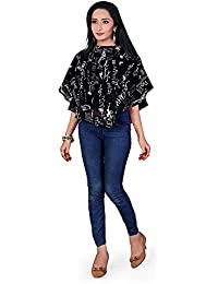 Purva Art Girls Western Black & White Print Stitched Tunic & Top For Womens (PA-2401_Stitched_B/W_JFW-109)
