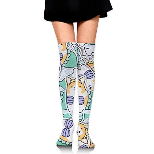 XIUZHIZH Knee High Leg Warmer Funny Bikini Corgi Dog Mermaid Compression Socks High Tube Thigh Boots Stockings for Women Teens Girls