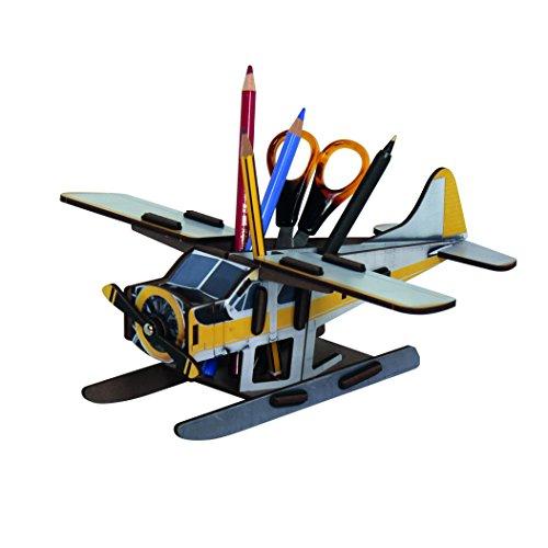"""Werkhaus Stiftebox """"Flugzeug"""" in Gelb/Grau"""