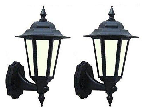2x LED Outdoor schwarz traditionellen Stil 7Watt LED Wand-Laterne integrierter LED-Diffuses ideal für Deko Outdoor Nutzung [Energieeffizienzklasse A +] -