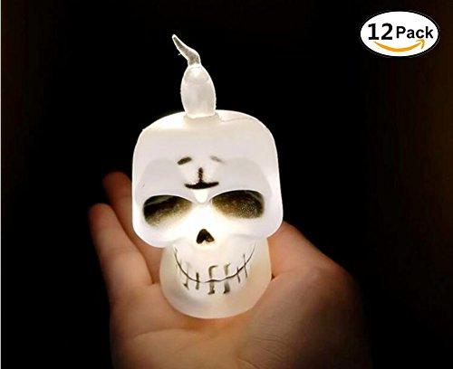 Halloween-Kürbis-Teelicht-Kerze LED beleuchtet - 12PCS, orange Kürbis-Farbenlicht, Halloween-Festival-Dekorationen LED-Lichter (Schädelkopf)
