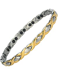MPS® ALIOTH Gold + Silver Finish Titanium Magnetic Bracelet for women + FREE Links Removal Tool