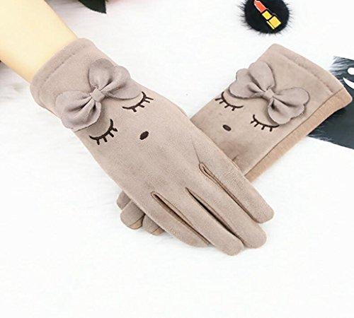 Longless Lady Frühling und Herbst Winter fahren Radfahren Non-Slip Touchscreen Plüsch dicker warme Handschuhe (Slip Face The North)