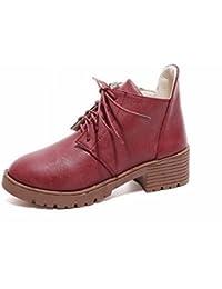 Botas Cortas de Moda de Moda con Cerillas Gruesas con un Solo Zapato , vino rojo , EUR34.5