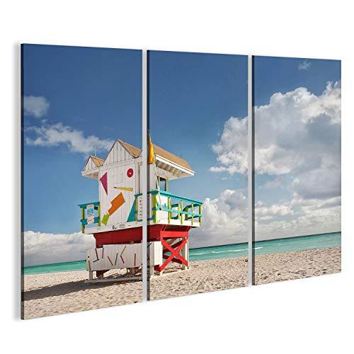 islandburner Bild Bilder auf Leinwand Miami Beach Florida, Rettungsschwimmer Haus in typisch bunten Art-Deco-Stil an e Wandbild Leinwandbild Poster DCV (Miami Art-deco-poster)