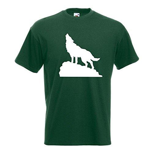 KIWISTAR - heulender Wolf auf Fels T-Shirt in 15 verschiedenen Farben - Herren Funshirt bedruckt Design Sprüche Spruch Motive Oberteil Baumwolle Print Größe S M L XL XXL Flaschengruen