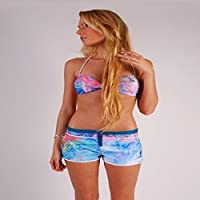 L.Bolt Fluo Sunkist Coral Pantalones Cortos de Surf, Mujer, Multicolor, M