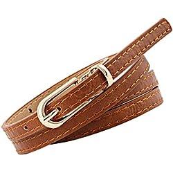 Cinturones Mujer Cuero Cinturones Mujer Vaqueros Cintura Fina Mujer AIMEE7 Cinturones De Mujer Para Vestidos Cinturones De Mujer Fina Cinturones De Moda Mujer (Marrón)