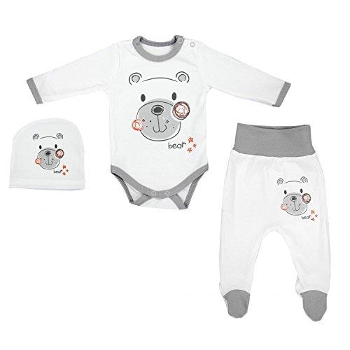 TupTam Baby Unisex Bekleidungsset mit Aufdruck 3 TLG, Farbe: Streifenmuster Grau/Bärchen Herz, Größe: 68