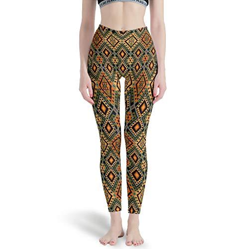Lind88 - Geometrische dünne Leggings für Damen, Capris-Muster, Ethno-Muster, Druck hoher Taille, weiche Leggings für Frauen S weiß