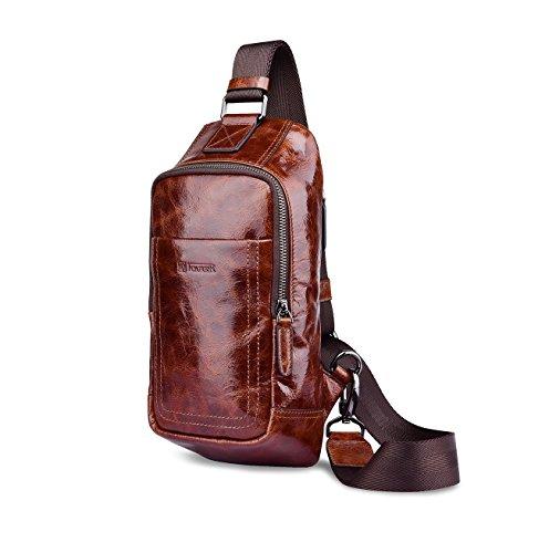 Zanasta Echtleder Herren Tasche Umhängetasche Brusttasche Rucksack Klein / Schultertasche Echt Leder Body Bag, 6 Fächer davon 2 mit Reißverschluss, 22x11x3cm, Vintage Look in Khaki Braun Kaffebraun