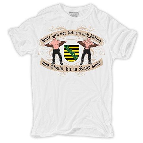 Männer und Herren T-Shirt Ossis in Rage Sachsen Weiß