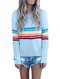 bca151ed0645c Sweat Arc en Ciel Femme Vintage Classique Sweatshirt Col Rond Chemise Sport  Haut a Rayure Mode Tunique Automne Hiver Blouse Manche Longue…