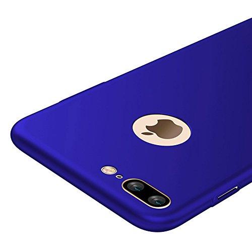 Blau Sehr Dünn Hülle Schutzhülle Case + Displayschutzfolie für Apple iPhone 7 Plus 5,5 Zoll Vooway® MS70199