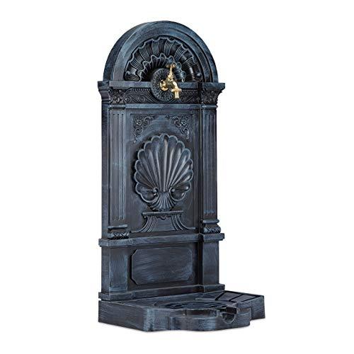 Relaxdays 10022939 fontana a muro da giardino, terrazza, stile antico, design nostalgico, hxlxp: 83 x 39 x 33 cm, grigio