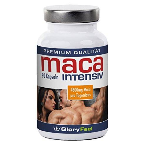 Maca Intensive - supplément pour les hommes et les femmes actifs - haut concentré d'extrait de racinede maca et de vitamines - 90 capsules