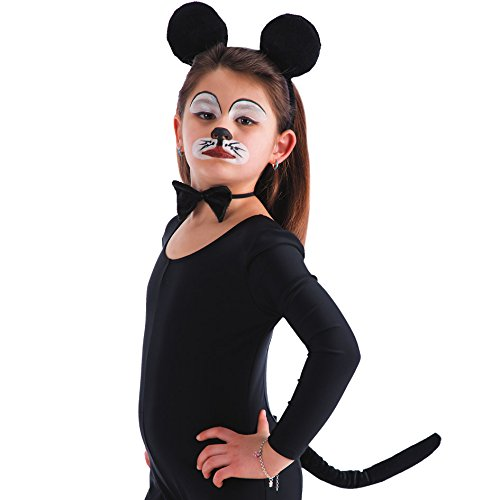 Set Maus, Ohren, Schwanz und Fliege, schwarz ()