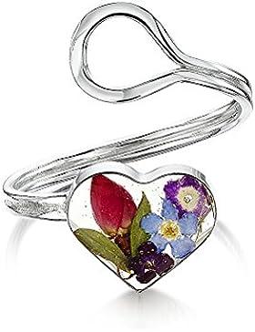 Shrieking Violet: verstellbarer Ring - Gemischte Blüten - Herz - 925 Sterling Silber - variable Größe