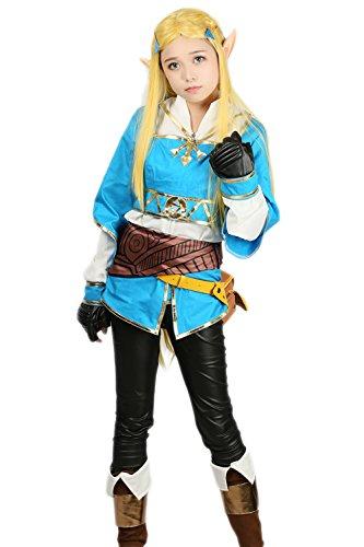 Prinzessin Kostüm Zelda Cosplay (Prinzessin Kostüm Cosplay Halloween Deluxe Anzug Mädchen Baumwolle & PU Leder Outfit Kleidung mit Hose Gürtel)